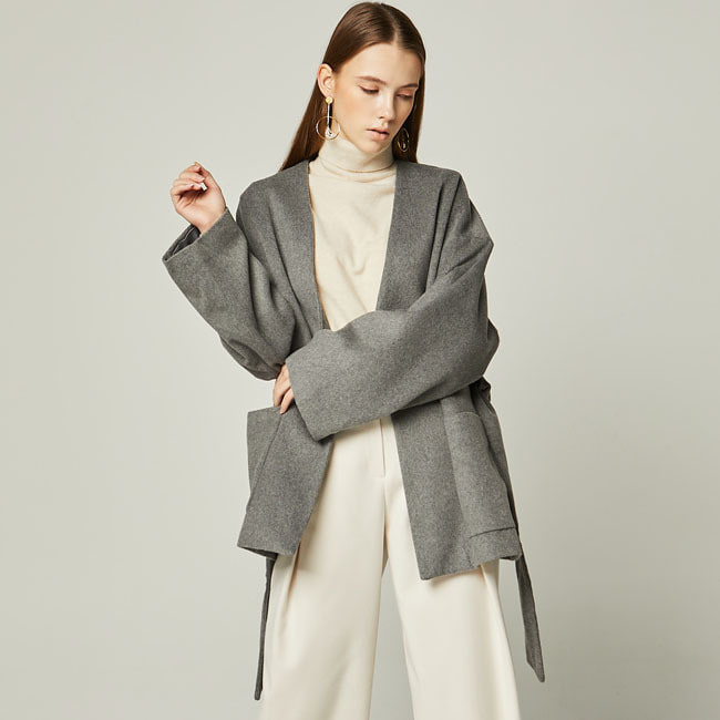 19WN WOOL HALF COAT Dark Gray
