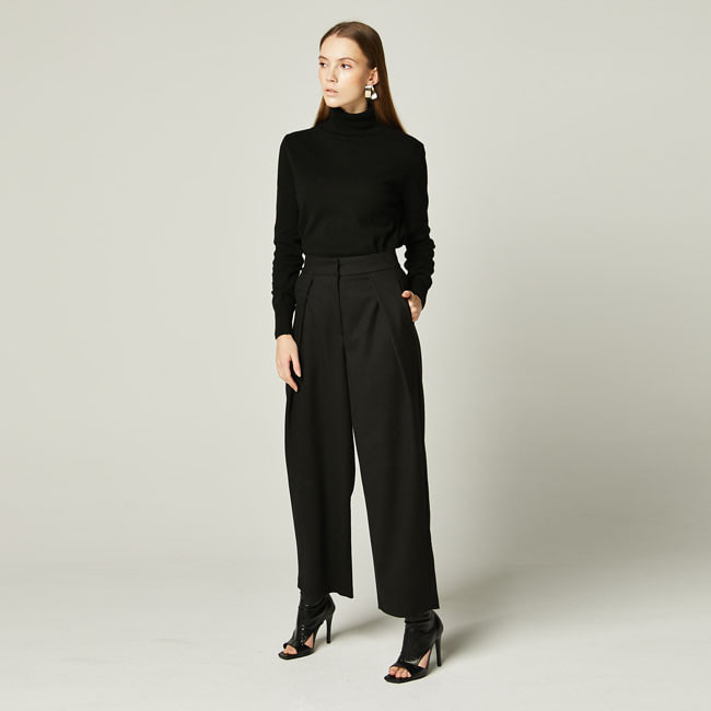 기모 Wide-Leg Pants Black