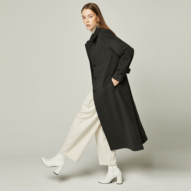 CHECK DOULE LONG COAT Dark Gray