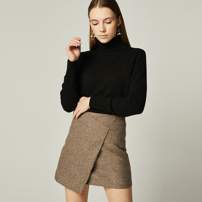UNBALANCED MINI SKIRT Brown